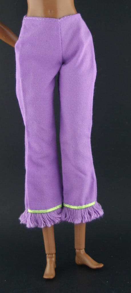 Barbie Size Clothes -- Medium Purple Pants Capris W/ Fringe