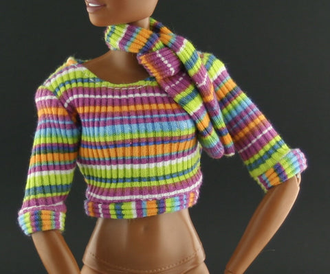 Barbie Clothes -- Striped T-Shirt W/ Matching Scarf