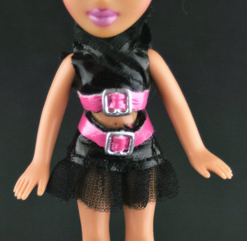 Mini Bratz Clothes -- Pink & Black Shiny Vinyl Skirt & Top