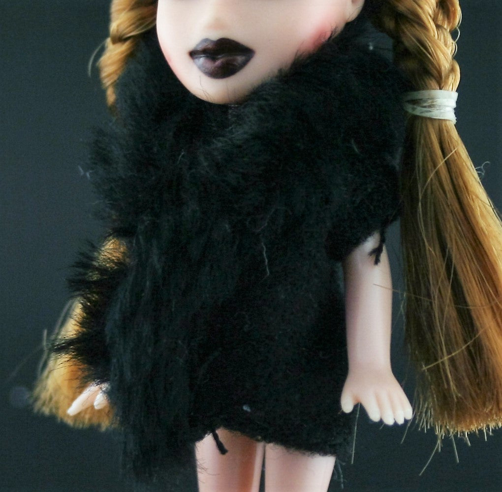 Mini Bratz Clothes -- Black Faux Fur Coat