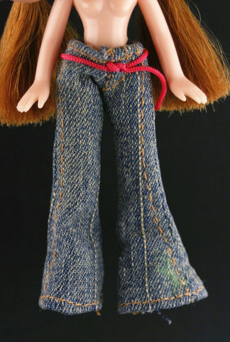 Mini Bratz Clothes -- Bell Bottoms Jeans W/ Pink Belt