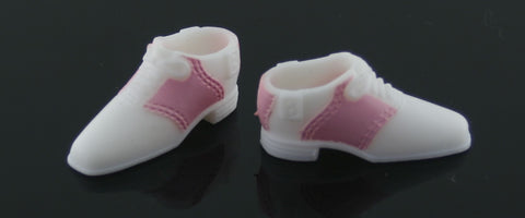 Barbie Shoes -- Pale Pink & White Saddle Shoes W/ B Logo