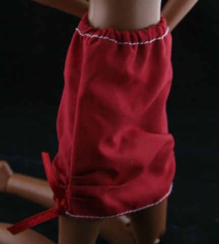 Barbie Clothes -- Red Mini Skirt W/ Gathered Hems