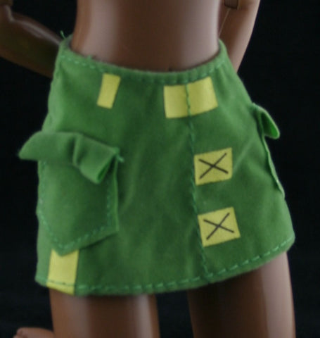 Barbie Clothes -- Green & Yellow Micro Mini Skirt