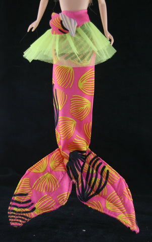 Skipper Size Clothes -- Tropical Print Mermaid Tail & Skirt
