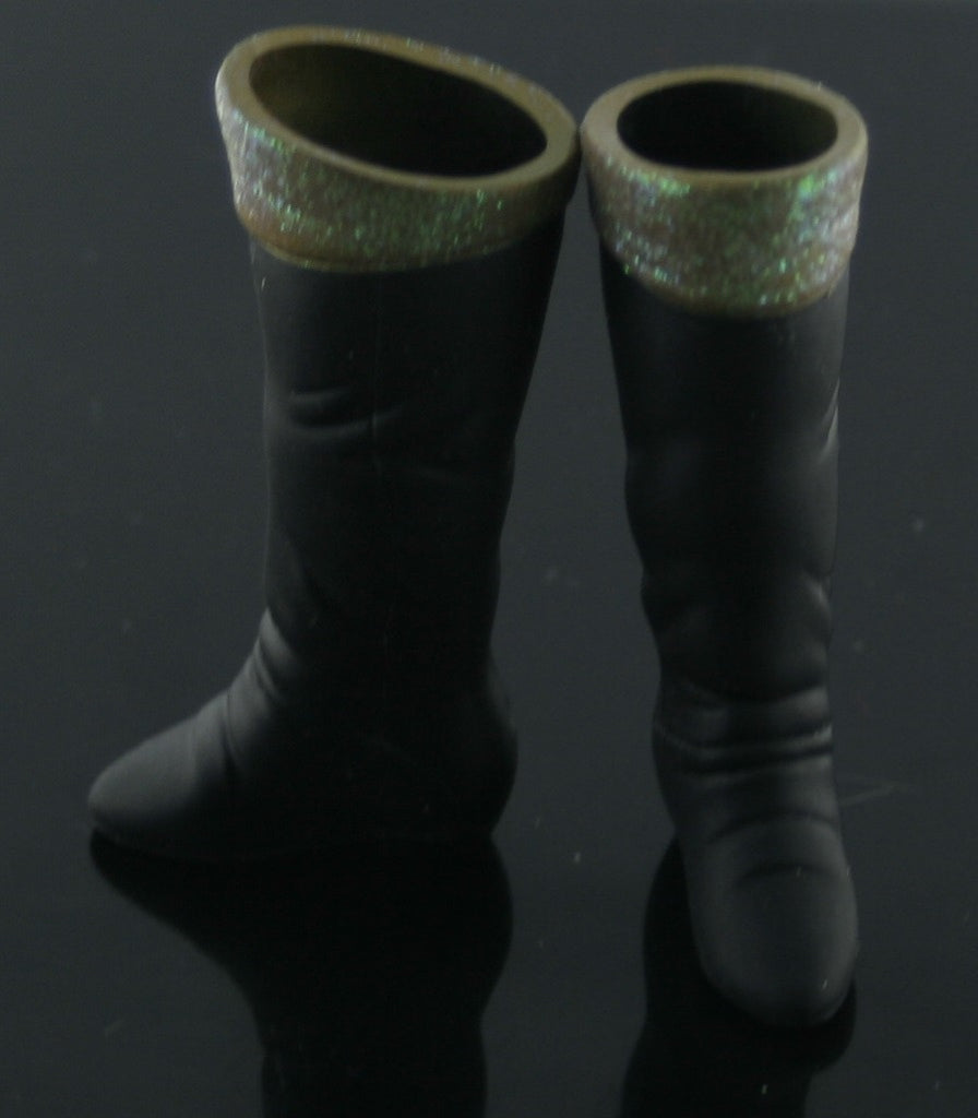 Barbie Size Shoes -- Black Hard Plastic Tall Boots W/ Glitter