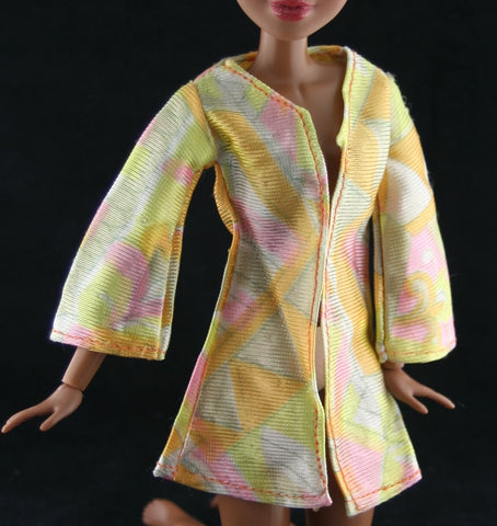Barbie Size Clothes -- Pastel Orange and Pink Tricot Long Sleeve Top
