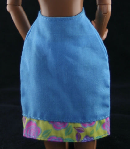 Barbie Clothes -- Blue Mini Skirt W/ Floral Print Trim