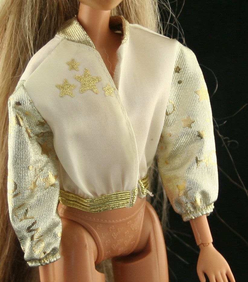 Barbie Clothes -- Hollywood Hair Barbie Satin Gold & White Jacket