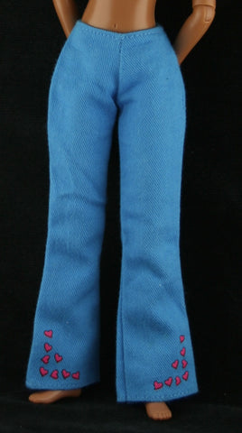 Barbie Clothes -- Bright Blue Jeans W/ Hearts