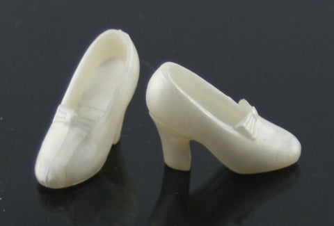 Barbie Size Shoes -- Pearly White Disney Princess Bow Pumps