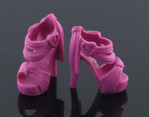 Barbie Size Shoes -- Dark Fuschia High Heels (Sandals) W/ Hearts