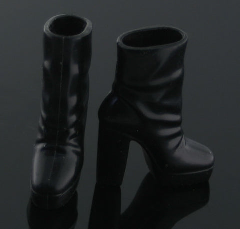 Barbie Shoes -- Black Platform High Heel Ankle Boots