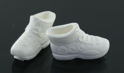 Barbie Size Shoes -- White High Top Sneakers W/ Smiley Face Toes