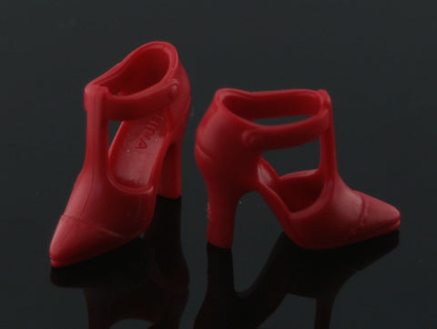Barbie Shoes -- Red Modern T-Strap Sandals High Heels