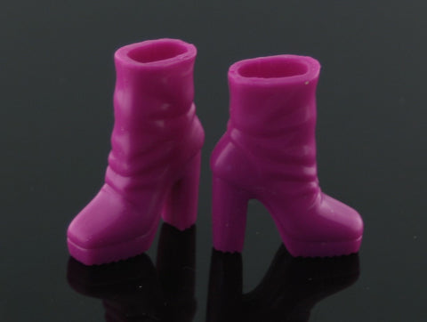 Barbie Size Shoes -- Bright Fuschia Rubber Platform Ankle Boots