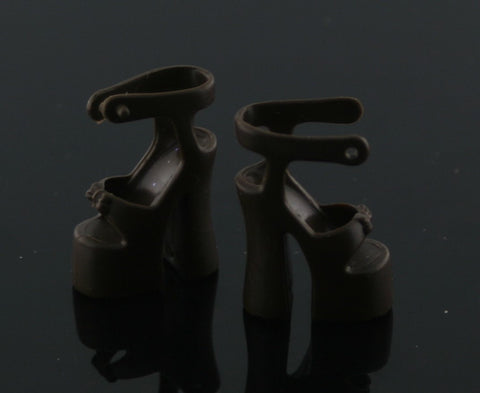Barbie Shoes -- Brown Platform Ankle Strap High Heels Sandals