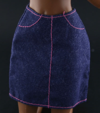 Barbie Clothes -- Navy Blue Faux Denim Mini Skirt W/ Pink Stitching