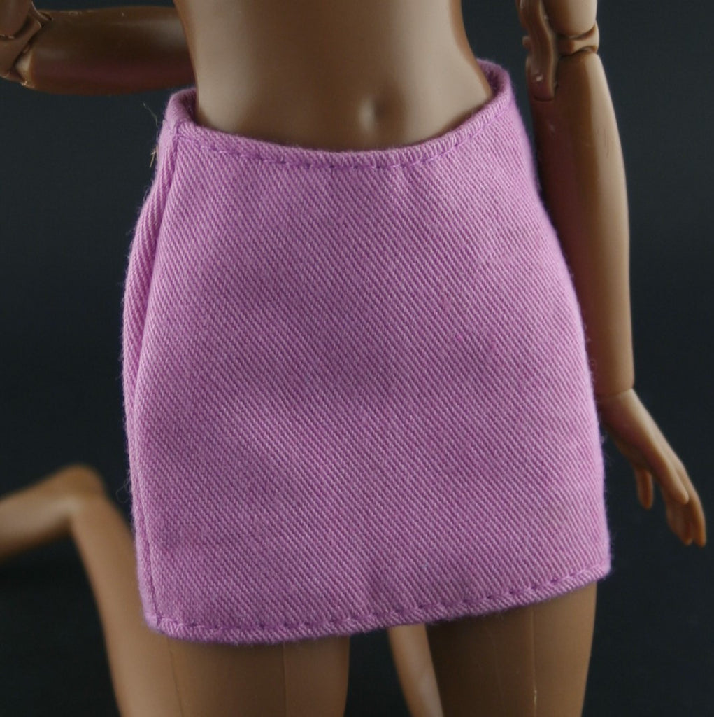 Barbie Size Clothes -- Rose Pink Cotton Mini Skirt