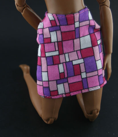 Barbie Clothes -- Skirt W/ Purple, Pink & White Geometric Block Pattern
