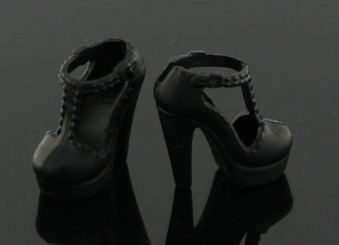 Barbie Size Shoes -- Black Modern T-Straps