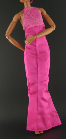 Barbie Clothes -- Hot Pink Sheath Dress W/ Halter Top