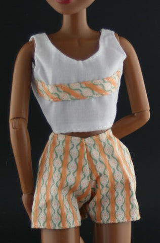 Barbie Clothes -- Orange, White & Green Coordinating Top/Shorts