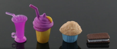 1/6 Barbie Scale Accessories -- Diorama Food -- Ice Cream, Drinks, Muffin