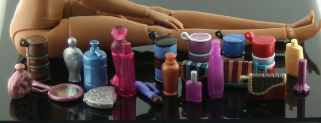 Barbie Size Accessories -- Assorted Bottles & Other Items -- Diorama