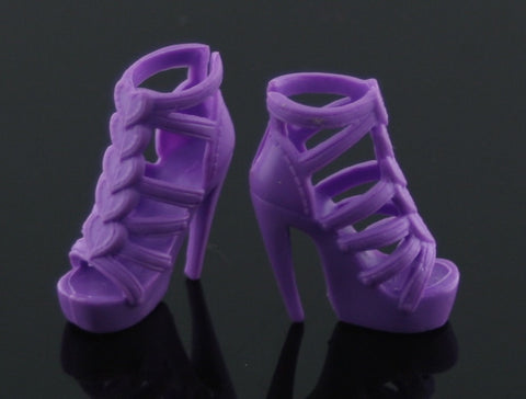 Barbie Size Shoes -- Purple Sandals W/ Hearts