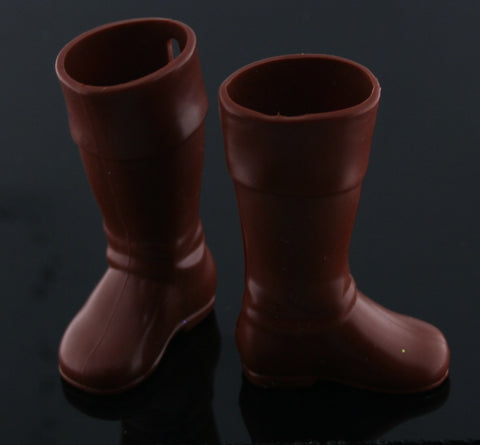 Ken Doll Size Shoes -- Soft Rubbery Chocolate Brown Tall Boots