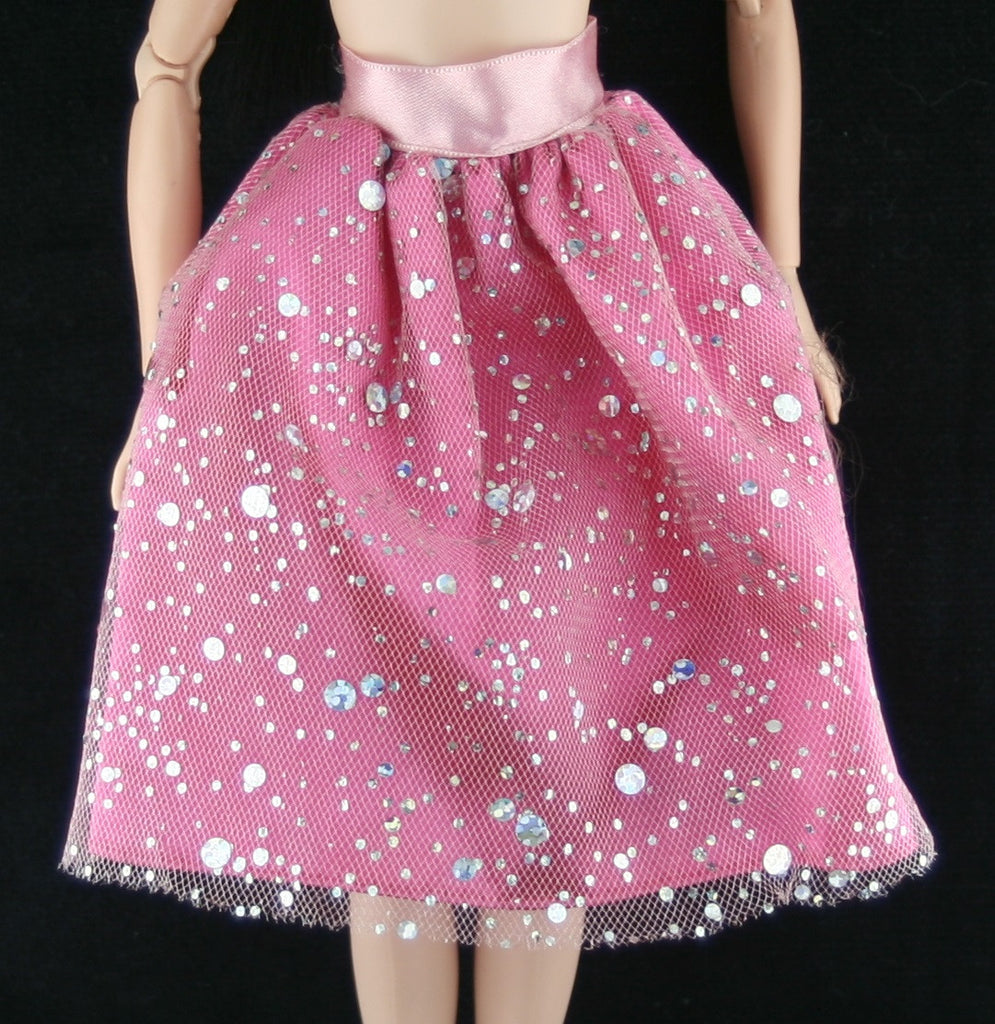 Barbie Size Clothes -- Pink Skirt W/ Sheer Glittery Overskirt