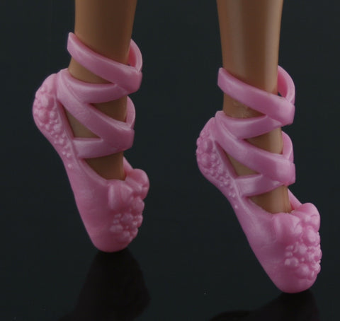Barbie Size Shoes -- Pearly Pink Ballet Slippers/Toe Shoes W/ Bows
