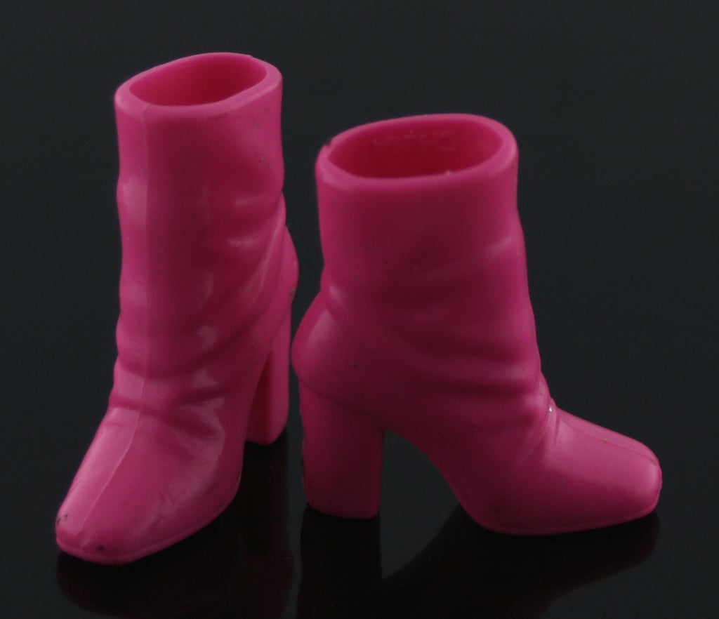 "Barbie Size Shoes -- Hot Pink Rubber ""Slouch"" Ankle Boots"