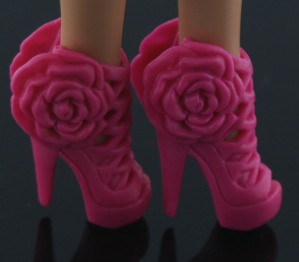 Barbie Size Shoes -- Hot Pink High Heel Sandals W/ Rosettes