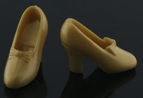 Barbie Size Shoes -- Gold Disney Princess Pumps W/ Bows