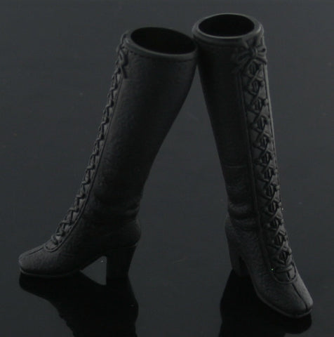 Barbie Shoes -- Vintage Style Black Tall Lace Up Boots