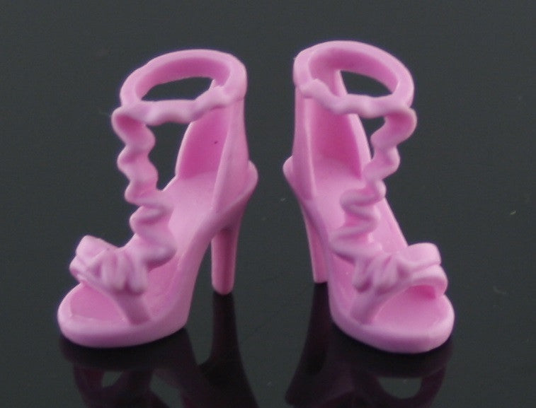 Barbie Size Shoes -- Medium Pink High Heel Sandals Zig Zag Straps
