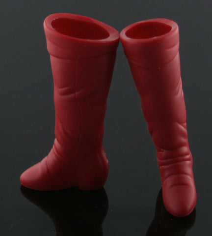 Barbie Shoes -- Red Hard Plastic Tall Boots