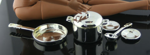Barbie Size Accessories -- Chrome Silver Pot, Frying Pan, Plates, Ladle