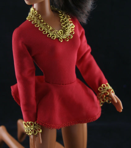 Barbie Size Clothes -- Ideal Dorothy Hamill Red Ice Skating Outfit