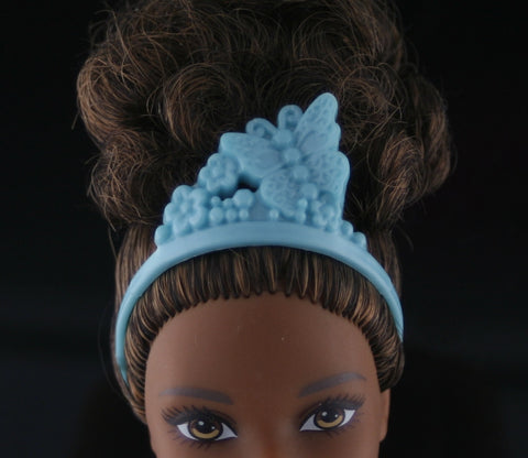 Barbie Size Tiara -- Blue-Green W/ Butterfly