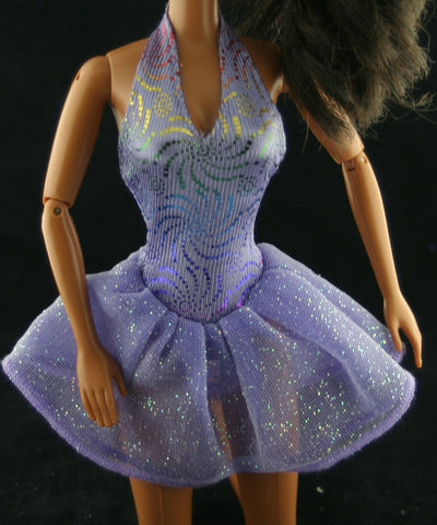 Barbie Clothes -- Tagged Purple Halter Top Mini Dress W/ Glitter
