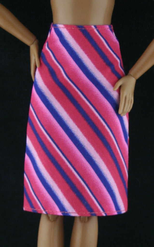 Barbie Clothes -- Striped Red, Pink, Blue Skirt VGC