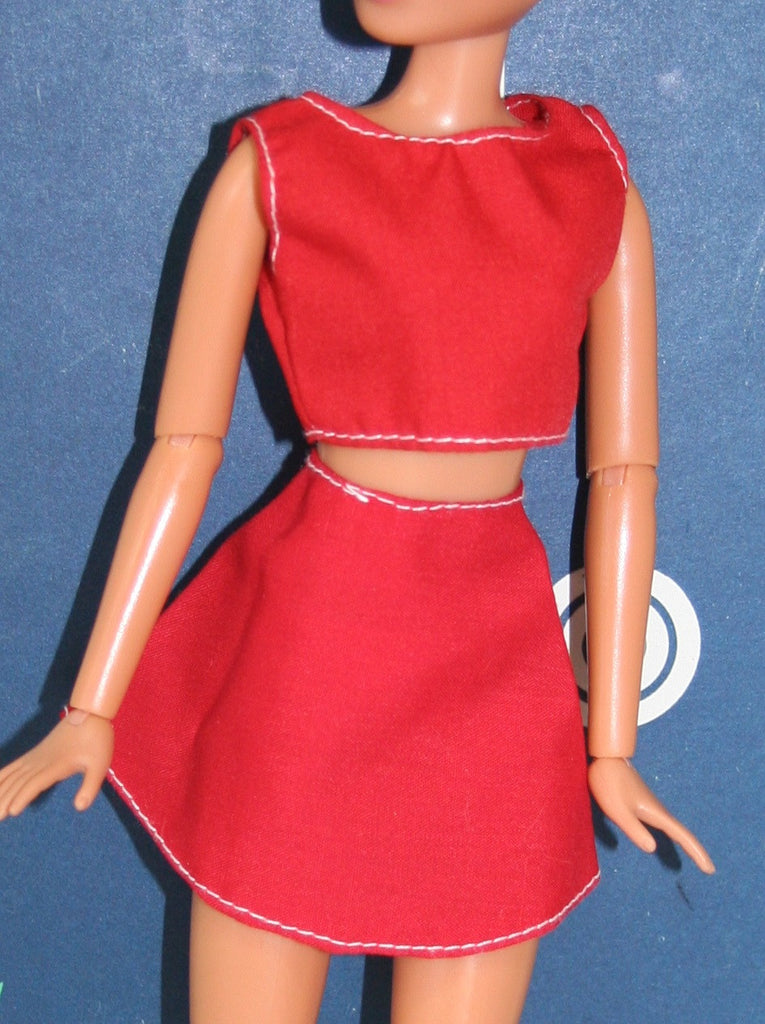 Barbie Size Clothes -- Red Crop Top & Shorts