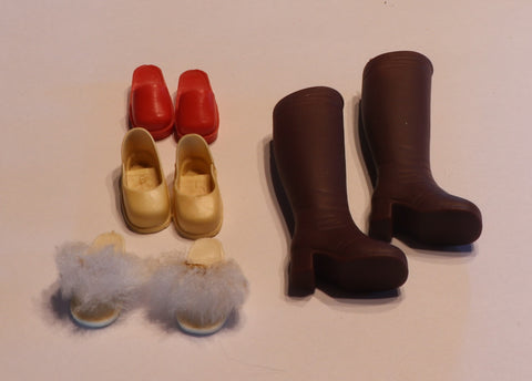 Sindy Shoe Lot -- Boots, Red Clogs, Slippers, Cream Shoes