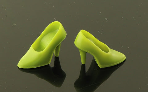 Vintage Style Barbie Size Shoes -- Olive Green Spike CT Heels (Modern)