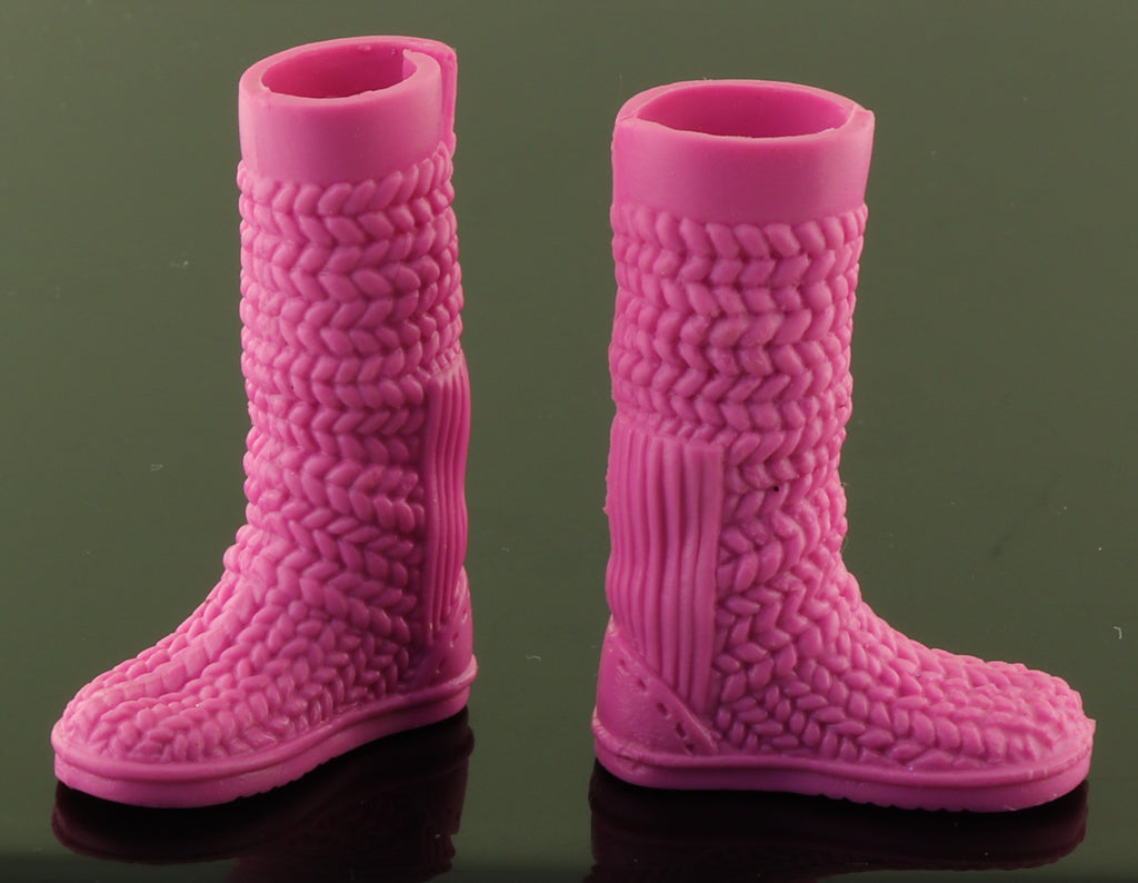 Barbie Shoes -- Pink Woven Look Snow Winter Boots