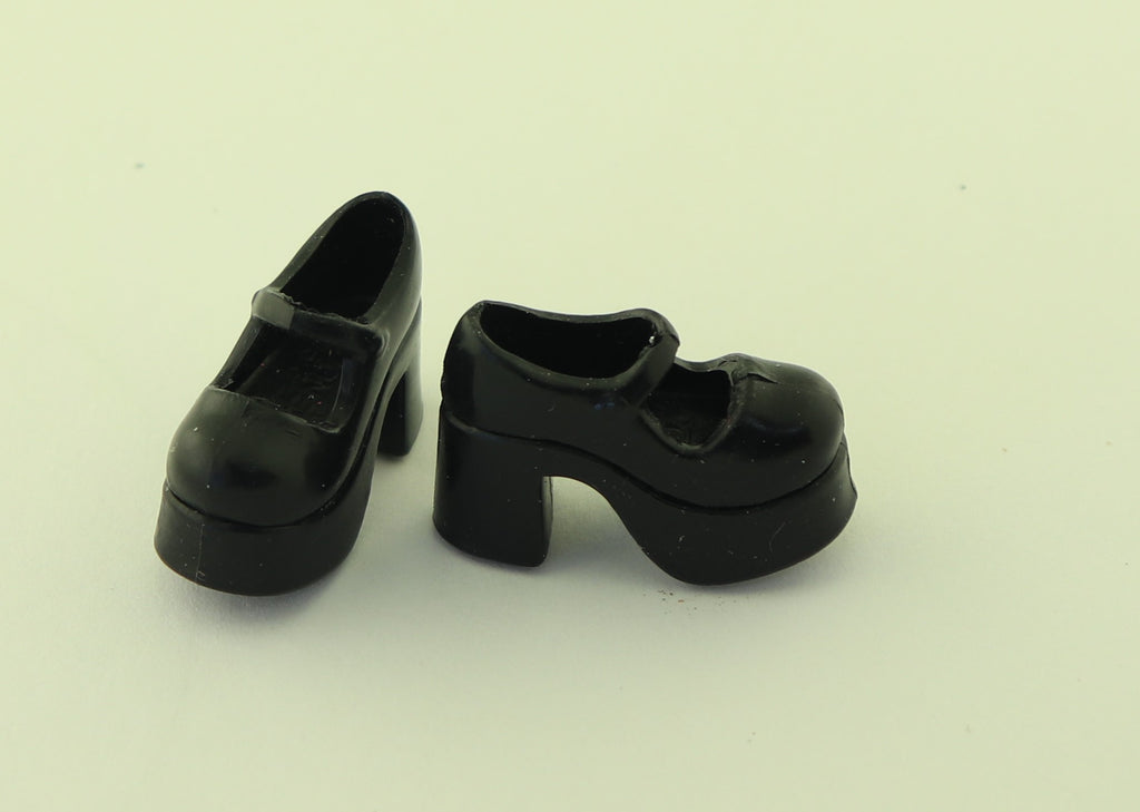 Barbie/Skipper Size Shoes -- Black Rubber Platform Mary Janes -- Blythe