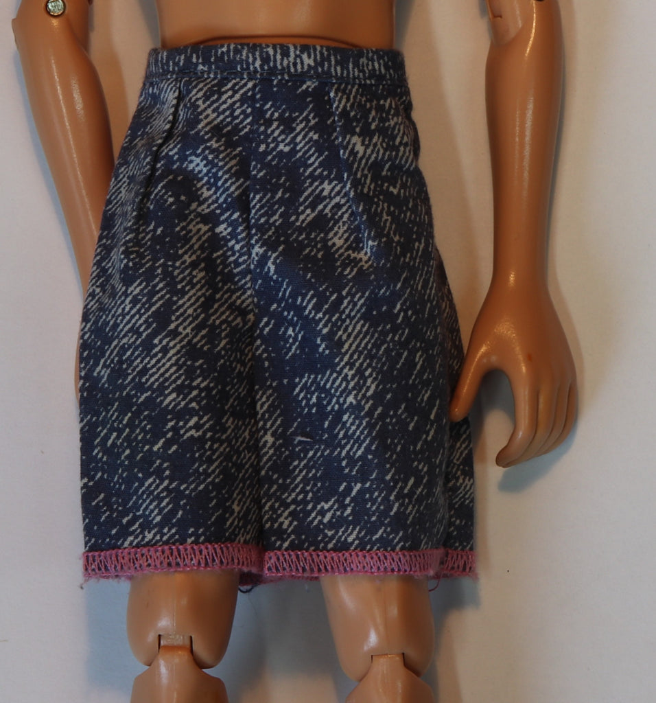 Ken Doll Clothes -- Faux Denim Shorts